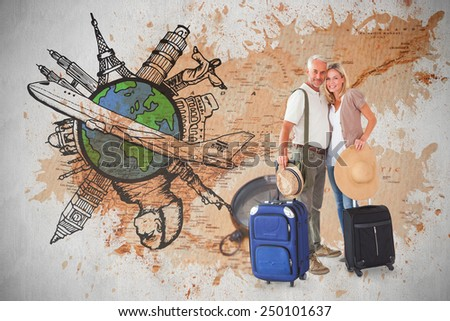 Happy couple ready to go on holiday against world map with compass showing north america - stock photo
