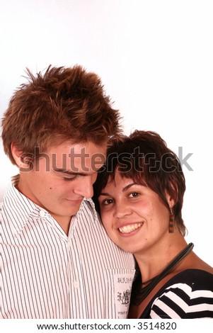 Happy Couple smiling isolated on white - stock photo