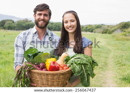 Happy couple with box of veg on a sunny day - stock photo