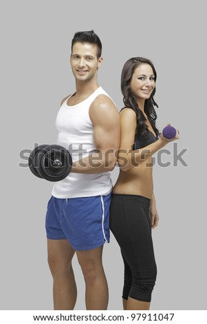 Happy couple workout together - stock photo