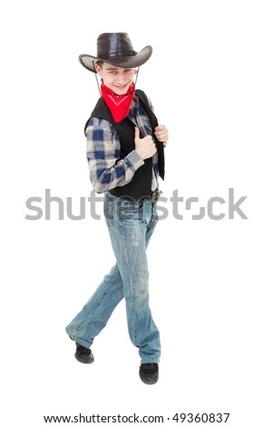 Happy cowboy dancing on a white background - stock photo