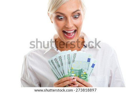 happy crazy young woman holding euro bills over white - stock photo