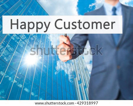 Happy Customer - Businessman hand holding sign. Business, technology, internet concept. Stock Photo - stock photo