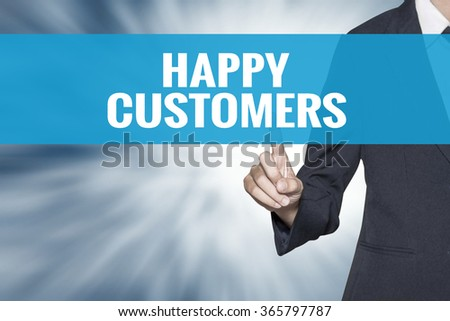 Happy Customers word on virtual screen touch by business woman cyan sky tab - stock photo