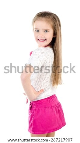 Happy cute little girl in skirt with beads isolated on a white  - stock photo