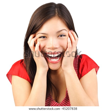Happy cute young woman excited and surprised isolated on white background. - stock photo