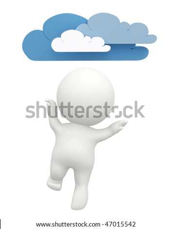 Happy 3D man figure with clouds isolated over a white background - stock photo