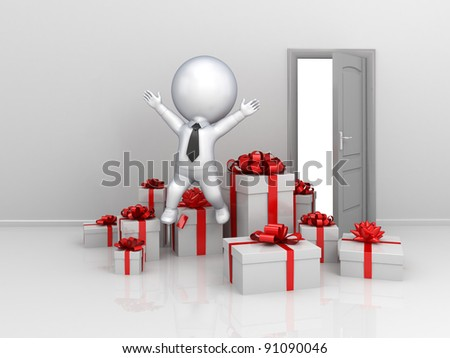 Happy 3d small person with a lot of gift boxes.Isolated on white background. - stock photo