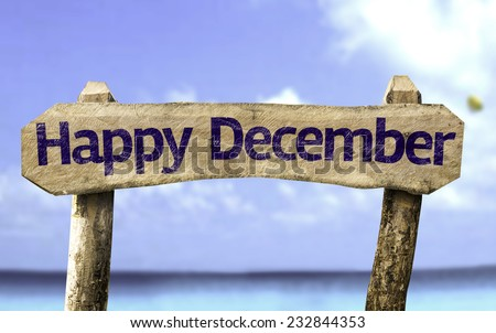 Happy December sign with a beach on background - stock photo