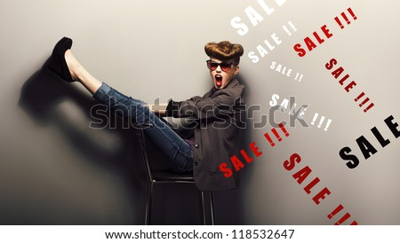 Happy delightful shopper - eve xmas sales concept. Fantasy - stock photo