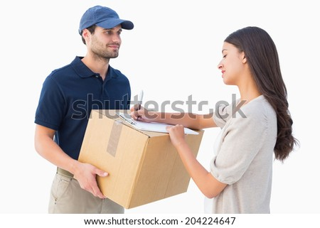 Happy delivery man with customer on white background - stock photo
