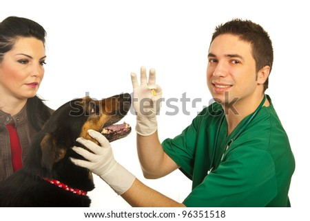 Happy doctor vet man giving pill to dog and dog owner woman looking  isolated on white background - stock photo