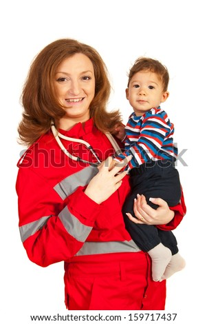 Happy doctor woman holding baby boy isolated on white background - stock photo