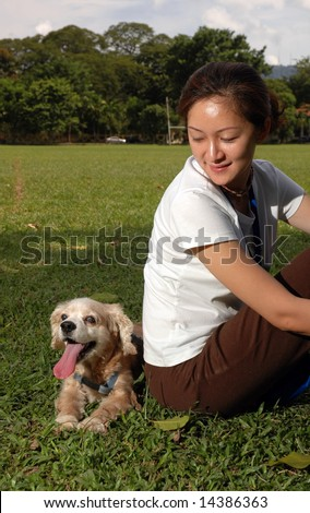 Happy Dog At Field - stock photo