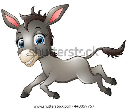 Happy donkey cartoon running - stock photo