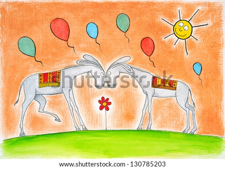 Happy donkeys with balloons, child's drawing, watercolor painting on paper - stock photo