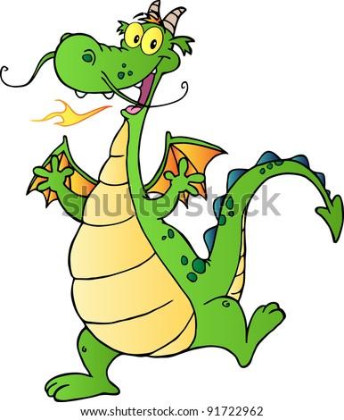 Happy Dragon Cartoon Character - stock photo