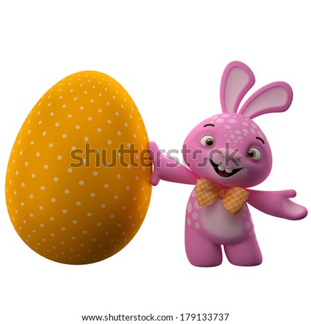 Happy Easter, amazing 3D easter bunny, merry cartoon rabbit, animal character with easter yellow egg, painting, decorating, dye, color, paintbrush - stock photo