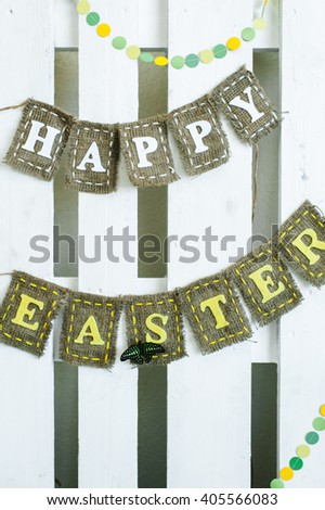 Happy easter banner lettering. Holiday postcard template.  - stock photo