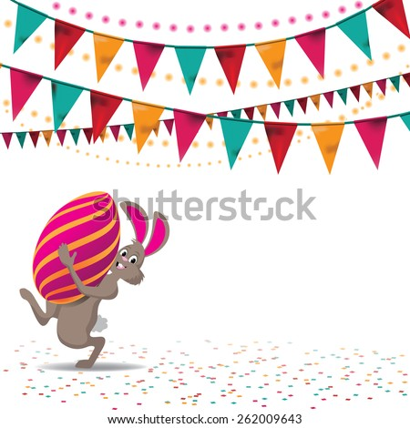 Happy Easter bunny and egg and bunting background royalty free stock illustration for greeting card, ad, promotion, poster, flier, blog, article, social media, marketing - stock photo
