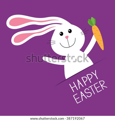 Happy Easter. Bunny rabbit hare holding carrot Paper pocket. Baby greeting card. Violet background. Flat design.  - stock photo