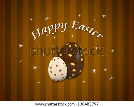 Happy Easter card with two decorated chocolate eggs - stock photo