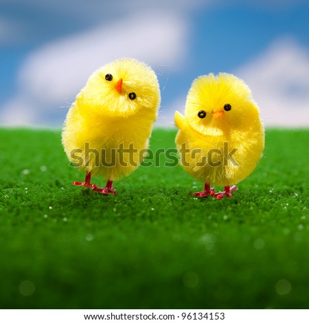 happy easter chickens on the grass - stock photo