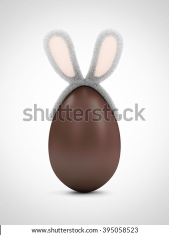 Happy Easter Concept. Big Chocolate Egg with Furry Bunny Ears on gradient background - stock photo
