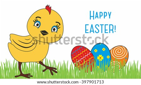 Happy Easter. Cute chicken cartoon characters illustrations.  - stock photo