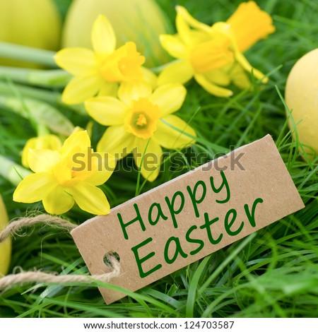 Happy Easter, label - stock photo