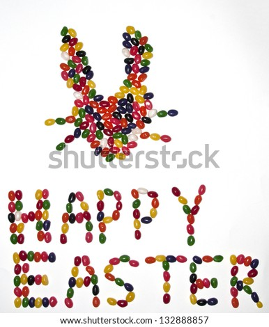 Happy Easter message  with a bunny rabbit head made from jelly beans - stock photo
