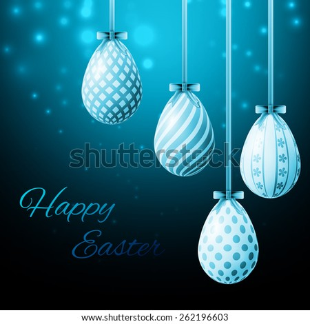 happy easter poster, blue eggs with different patterns on a blue background - stock photo