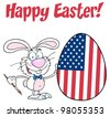 Happy Easter Text Above A Rabbit Painting Easter Egg With American Flag. Raster Illustration.Vector version also available in portfolio. - stock photo