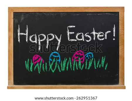 Happy Easter written in white chalk with colored grass and eggs on a black chalkboard isolated on white - stock photo