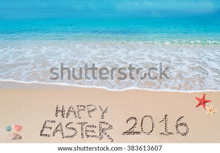 happy easter 2016 written on a tropical beach under clouds - stock photo