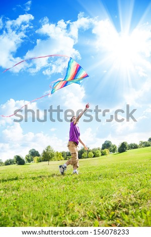 Happy eight years old nice boy playing in field with big color kite  - stock photo