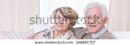 Happy elder man embracing his senior wife - stock photo