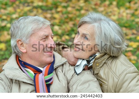 Happy elderly couple sitting in autumn nature - stock photo