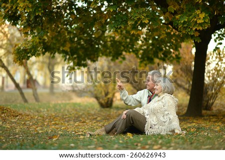 Happy elderly couple sitting in autumn park,man shows something by his hand - stock photo