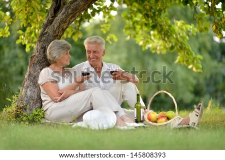 happy elderly couple together relaxing and drinking wine together - stock photo