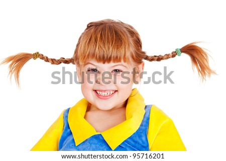Happy emotional little girl with funny braids - stock photo
