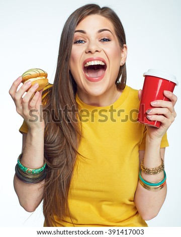 Happy emotional woman glad sweet diet. White background isolated portrait of funny woman with long hair. - stock photo