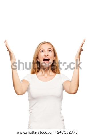 Happy enthusiastic woman on white background. Smiling emotions happy female. Fortune - stock photo