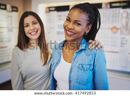 Happy entrepreneurs opening new business, multiracial ethnic business - stock photo