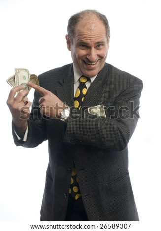 happy excited business man banker with wad of cash money - stock photo