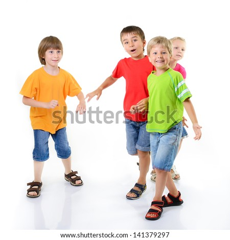 happy excited children friends have fun, isolated on a white background - stock photo