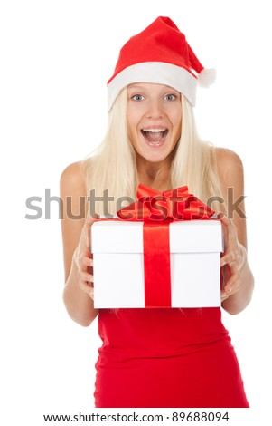 happy excited smile santa girl hold gift box, woman wear red christmas hat looking at camera, isolated over white background - stock photo
