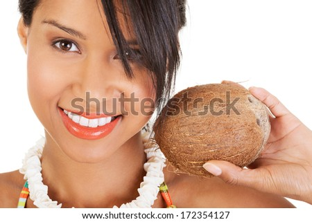 Happy excited summer woman with coconut. Isolated on white. - stock photo