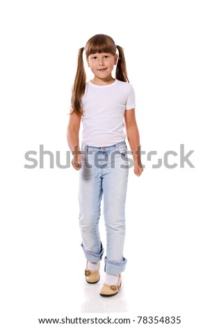 Happy excited walking girl isolated on white - stock photo