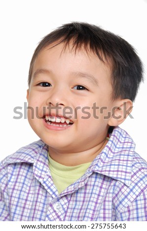 Happy face child over white background. - stock photo